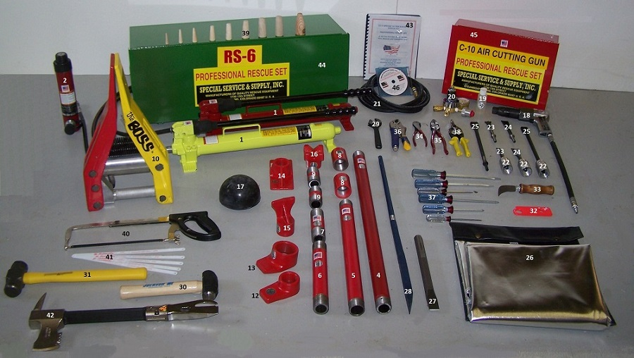 RS-6 10 ton Aircraft Rescue Set components numbered picture