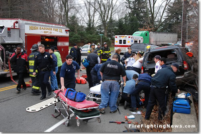 Extrication board awaits patient at an accident picture